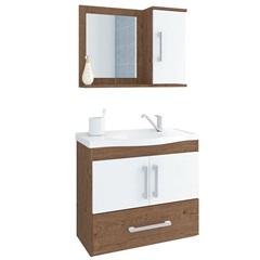 Gabinete Suspenso para Banheiro Atenas 56,5x63,5cm Amêndoa E Branco - MGM Móveis