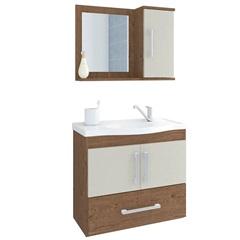 Gabinete Suspenso para Banheiro Atenas 56,5x63,5cm Amêndoa E Off White - MGM Móveis