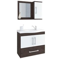 Gabinete Suspenso para Banheiro Atenas 56,5x63,5cm Branco E Café - MGM