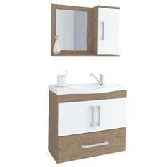 Gabinete Suspenso para Banheiro Atenas 56,5x63,5cm Branco E Carvalho - MGM