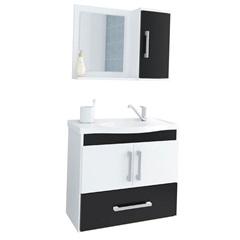 Gabinete Suspenso para Banheiro Atenas 56,5x63,5cm Branco E Preto - MGM