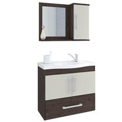 Gabinete Suspenso para Banheiro Atenas 56,5x63,5cm Café E Off White - MGM