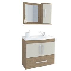 Gabinete Suspenso para Banheiro Atenas 56,5x63,5cm Carvalho E Off White - MGM Móveis