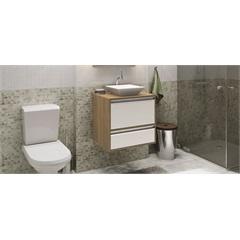 Gabinete Suspenso para Banheiro com Cuba Ferrara 60cm Branco E Nogueira - MGM Móveis