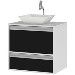 Gabinete Suspenso para Banheiro com Cuba Ferrara 60cm Branco E Preto - MGM Móveis