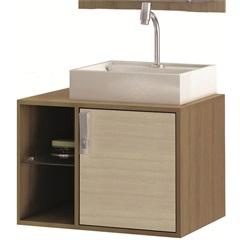 Gabinete Suspenso para Banheiro com Cuba Sevilha 60cm Acácia E Nogueira - MGM Móveis