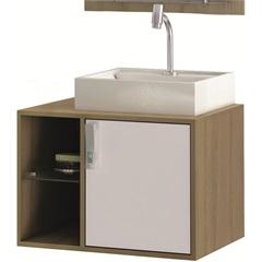 Gabinete Suspenso para Banheiro com Cuba Sevilha 60cm Branco E Nogueira - MGM Móveis