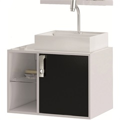 Gabinete Suspenso para Banheiro com Cuba Sevilha 60cm Branco E Preto - MGM Móveis