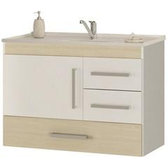 Gabinete Suspenso para Banheiro com Tampo Madri 80cm Acácia Claro - MGM Móveis