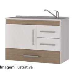Gabinete Suspenso para Banheiro com Tampo Madri 80cm Nogueira - MGM Móveis