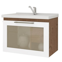 Gabinete Suspenso para Banheiro Hibisco 44x59cm Amêndoa E Branco - MGM