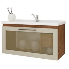Gabinete Suspenso para Banheiro Hibisco 44x79,3cm Amêndoa E Off White - MGM