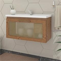 Gabinete Suspenso para Banheiro Hibisco 44x79,3cm Amêndoa - MGM