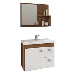 Gabinete Suspenso para Banheiro Hortência 46x55cm Amêndoa E Branco - MGM