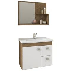 Gabinete Suspenso para Banheiro Hortência 46x55cm Branco E Carvalho - MGM