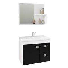 Gabinete Suspenso para Banheiro Hortência 46x55cm Branco E Preto - MGM