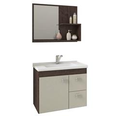Gabinete Suspenso para Banheiro Hortência 46x55cm Café E Off White - MGM