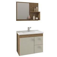 Gabinete Suspenso para Banheiro Hortência 46x55cm Carvalho E Off White - MGM