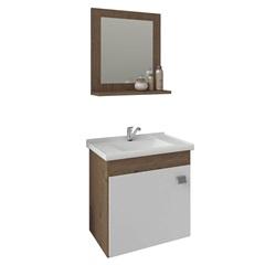 Gabinete Suspenso para Banheiro Íris 46x44,8cm Amêndoa E Branco - MGM