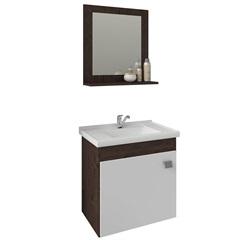 Gabinete Suspenso para Banheiro Íris 46x44,8cm Branco E Café - MGM