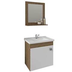 Gabinete Suspenso para Banheiro Íris 46x44,8cm Branco E Carvalho