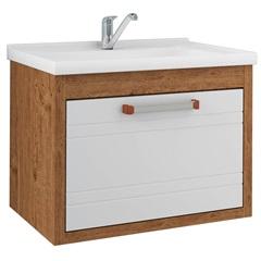 Gabinete Suspenso para Banheiro Jade 44x59cm Amêndoa E Branco - MGM