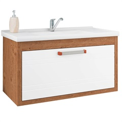 Gabinete Suspenso para Banheiro Jade 44x79,3cm Amêndoa E Branco - MGM