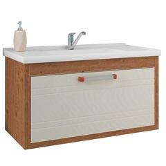 Gabinete Suspenso para Banheiro Jade 44x79,3cm Amêndoa E Off White - MGM
