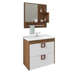 Gabinete Suspenso para Banheiro Lírio 56x59cm Amêndoa E Branco - MGM