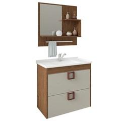 Gabinete Suspenso para Banheiro Lírio 56x59cm Amêndoa E Off White - MGM
