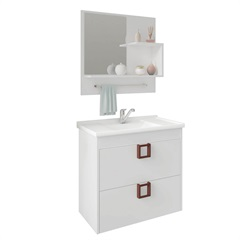 Gabinete Suspenso para Banheiro Lírio 56x59cm Branco - MGM