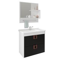Gabinete Suspenso para Banheiro Lírio com Espelho 59x35,5cm Branco E Preto - MGM Móveis