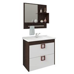 Gabinete Suspenso para Banheiro Lírio com Espelho 59x35,5cm Café E Branco - MGM Móveis