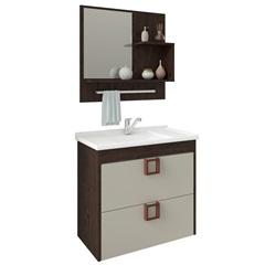 Gabinete Suspenso para Banheiro Lírio com Espelho 59x35,5cm Café E Off-White - MGM Móveis