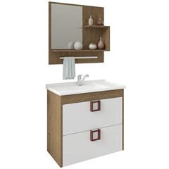 Gabinete Suspenso para Banheiro Lírio com Espelho 59x35,5cm Carvalho E Branco - MGM Móveis