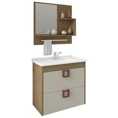 Gabinete Suspenso para Banheiro Lírio com Espelho 59x35,5cm Carvalho E Off-White - MGM Móveis