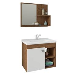 Gabinete Suspenso para Banheiro Lótus 46x55cm Amêndoa E Branco - MGM
