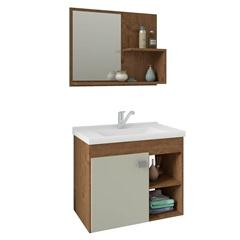 Gabinete Suspenso para Banheiro Lótus 46x55cm Amêndoa E Off White - MGM
