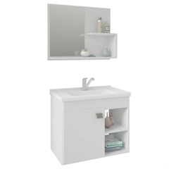 Gabinete Suspenso para Banheiro Lótus 46x55cm Branco - MGM