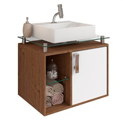 Gabinete Suspenso para Banheiro Porto 57,2x60,2cm Amêndoa E Branco - MGM