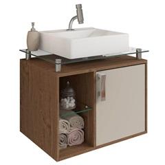Gabinete Suspenso para Banheiro Porto 57,2x60,2cm Amêndoa E Off White - MGM