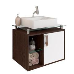 Gabinete Suspenso para Banheiro Porto 57,2x60,2cm Branco E Café - MGM