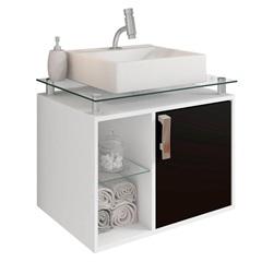Gabinete Suspenso para Banheiro Porto 57,2x60,2cm Branco E Preto - MGM Móveis