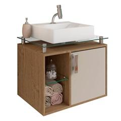 Gabinete Suspenso para Banheiro Porto 57,2x60,2cm Carvalho E Off White - MGM