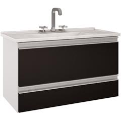Gabinete Suspenso para Banheiro Treviso 80,4x47,5cm Branco E Preto  - MGM Móveis
