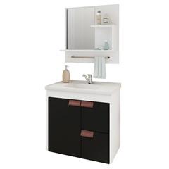 Gabinete Suspenso para Banheiro Tulipa com Espelho 59x35,5cm Branco E Preto - MGM Móveis