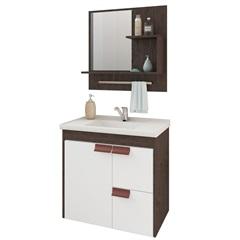 Gabinete Suspenso para Banheiro Tulipa com Espelho 59x35,5cm Café E Branco - MGM Móveis