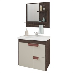 Gabinete Suspenso para Banheiro Tulipa com Espelho 59x35,5cm Café E Off-White - MGM Móveis