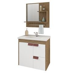 Gabinete Suspenso para Banheiro Tulipa com Espelho 59x35,5cm Carvalho E Branco - MGM Móveis