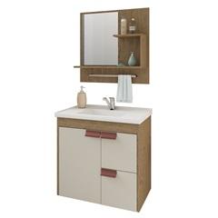 Gabinete Suspenso para Banheiro Tulipa com Espelho 59x35,5cm Carvalho E Off-White - MGM Móveis